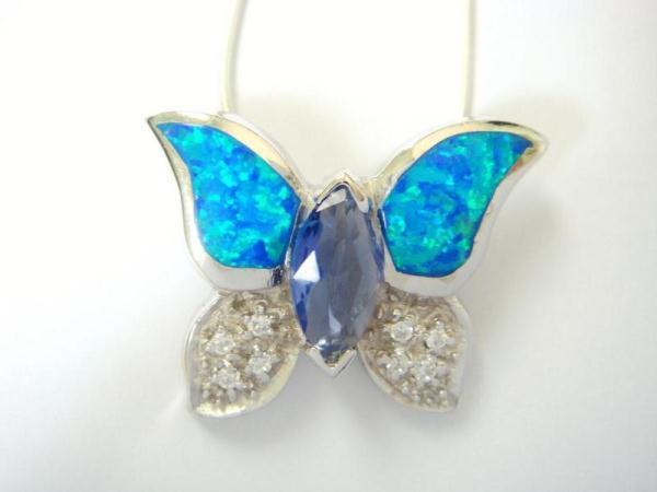 925 Sterling Silver Pendant Hawaiian Blue Opal CZ Butterfly