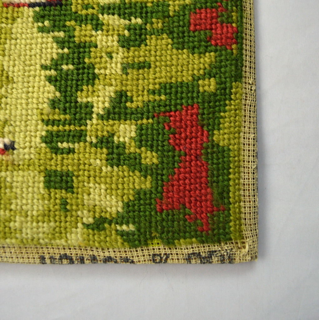 Vintage Country Church Autumn Needle Point On Wood Un Framed Wall Art Textile