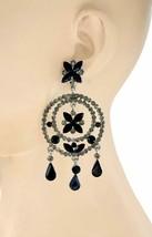 "3.5"" Long Gray & Black Rhinestone Statement Chandelier Hoop Earrings Casual Chic - $23.75"