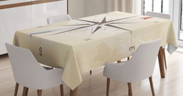 Compass Arrow Tablecloth Vintage Navigation Art Dining Table Linen Cover... - $27.43