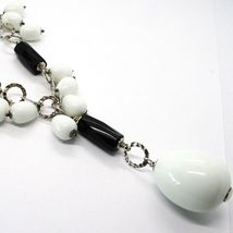 Silver 925 Necklace, Onyx Black, Agate White Drop, Waterfall Pendant image 4