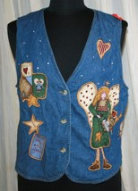 Quacker Factory M Denim Vest Angels Christmas Faith Hope Love Ugly Women... - $19.40