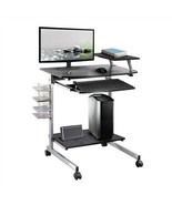 Mobile Compact Computer Cart Desk with Keyboard Tray - $187.11