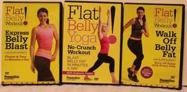 3 Flat Belly Workout DVD lot Prevention Express Blast Ellen Barret Yoga ... - $23.74