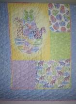 Handmade NOAHS ARK Baby QUILT Blanket Animals Zoo Pastel Rainbow Tie Dye... - $28.03