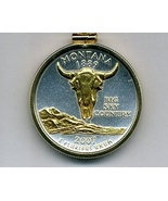 State of Montana,Gold on Silver, U.S. Quarter Pendant Necklace,Gold Fill... - $85.00