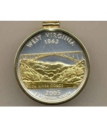 State of West Virginia, 2-Toned, Gold on Silver, Quarter Pendant Necklace - $85.00