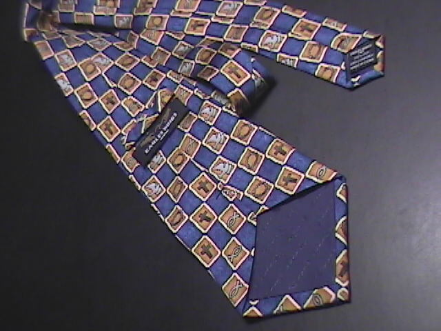 Eagles Wings Neck Tie Christian Symbols Crown of Thorns Doves Crosses Blue Silk