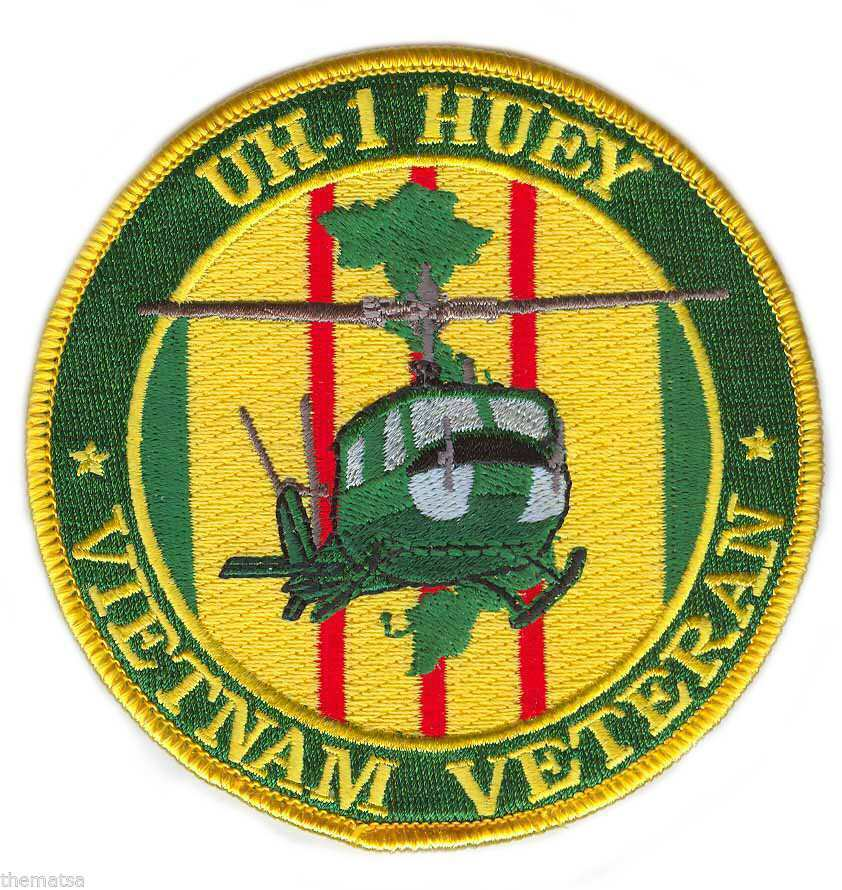 "ARMY VIETNAM VETERAN UH-1 HUEY HELICOPTER 4"" EMBROIDERED MILITARY PATCH"
