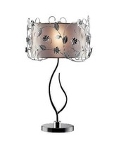 """34""""H Silver Crystal Table Lamp with drum shade - OK-5121T - $133.63"""