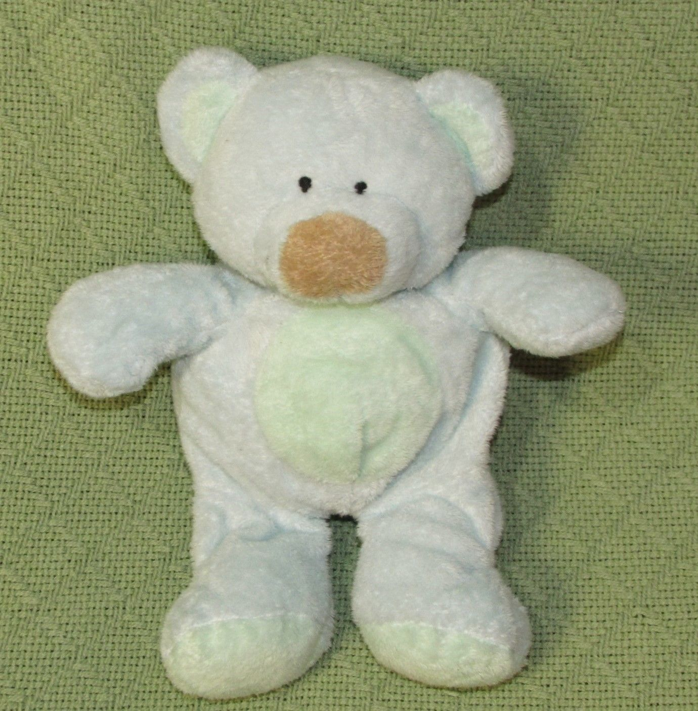 Ty Pluffies BLUEBEARY Blue TEDDY BEAR Plush Stuffed 2002 Brown Nose Green Tummy