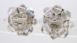 VTG Clear AB Demi Parure Crystal Silver Toned Cluster Flower Clip Earrings - $19.80