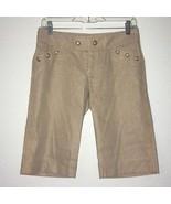 Authentic Juicy Couture Womens Bermuda Shorts Gold Linen Blend Sz 2 Sailor - $42.06