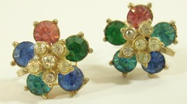 Vintage Nemo Flower Rhinestone Earrings Screw Back Pastels Floral Blue P... - $13.37