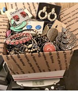 Lot JEWELRY Grab Bag Box 90s New-Vintage Earrings Bracelet Necklaces Rin... - $38.65