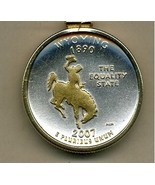 State of Wyoming, Gold on Silver, Quarter Pendant Necklace, Gold Filled ... - $85.00
