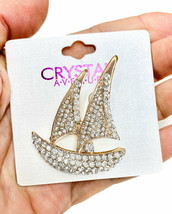 "2"" Tall Gold Tone Sailboat Brooch, Pin, Clear Rhinestones, Elegant, Casu... - $12.35"