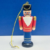 Christmas ornament 1980s wood holiday vintage mcm Nutcracker soldier Ger... - $9.85