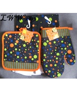 2 Black Green Orange Polka Dot Halloween kitchen towels pot holder & ove... - $12.99