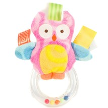 Taggies Owl Rattle Mary Meyer Plush Pink Tags Beads Soft Yellow Blue Plush - $17.68