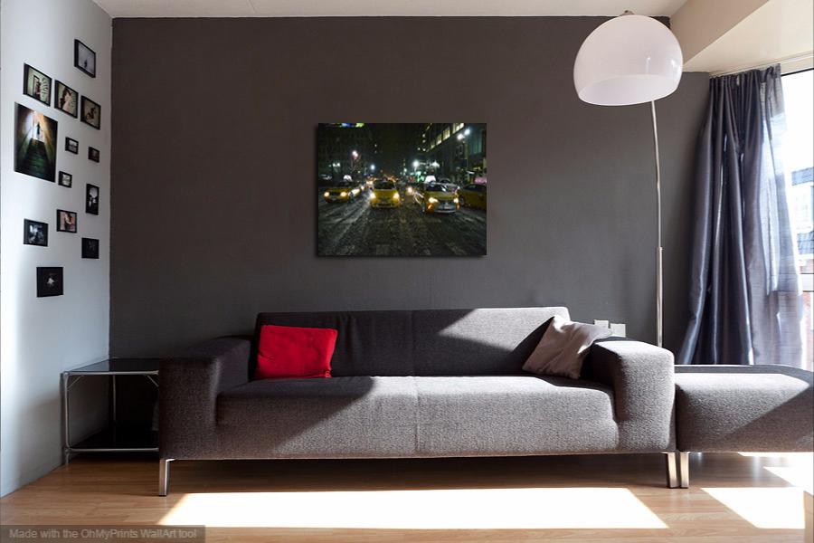 "Panoramic Wall Decor Canvas Print- ""Headlights & Streetlights"""