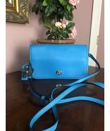 Coach Crossbody Azure Blue Glove Tanned Leather Turnlock 38495 B28 - $94.04