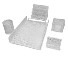 Majestic Goods 5 Pieces White Flower Designed Punched Metal Mesh Desk Set - €30,47 EUR