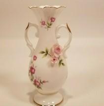 "Towle Fine Bone China  Vintage 5"" Bud Vase  3D Pink Roses Gold Trim 2 Ha... - $11.88"