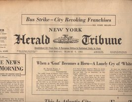 New York Herald Tribune Newspaper Thursday, March 8, 1962 - $4.90