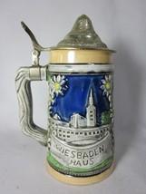 Vintage Arnart Lidded Beer Stein Wiesbaden Haus German Castle - $19.79