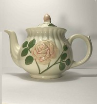 Embossed ROSE Teapot Creme Pink Green Ribbed Collectible USA Shawnee 1950s - $18.95