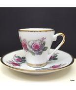 Yong Sheng Demitasse Cup Saucer White Pink Gray Roses Gold Trim - $11.88