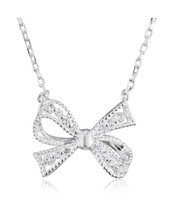 Elements Sterling Silver for Ladies with Bow Necklace Cubic Zirconia wit... - $49.92