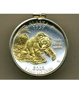State of Alaska, Gold on Silver, U.S.Quarter Pendant Necklace, Gold fill... - $85.00
