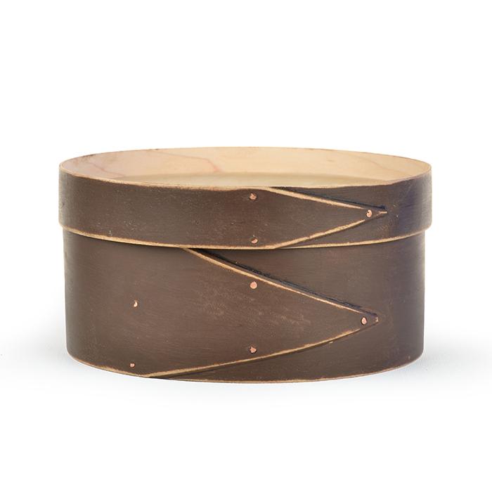 "8"" Round Dark Chocolate Shaker Box cross stitch needlepoint Lone Elm Lane"