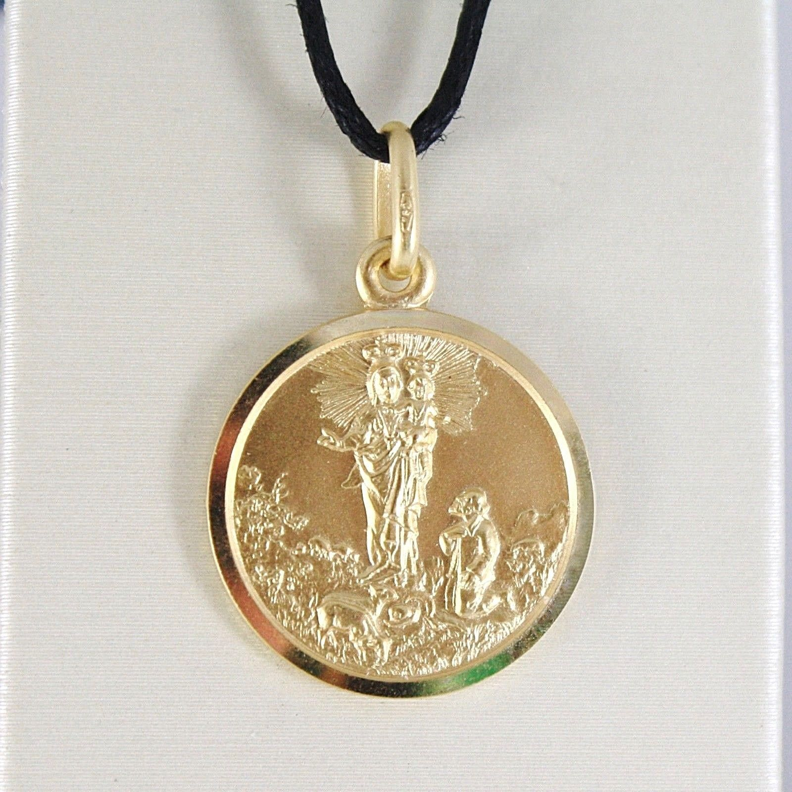 SOLID 18K YELLOW GOLD OUR MARY LADY OF THE GUARD 13 MM ROUND MEDAL MADE IN ITALY