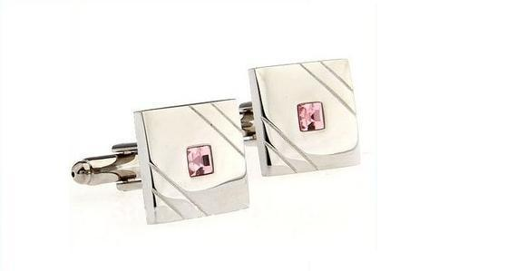 Designer Silver & Pink Crystal Mens Cufflinks by Frederick Thomas FT309 Wedding