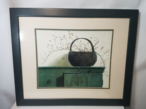 FRAMED PAULINE EBLE CAMPANELLI PAINTING WILD ROSE BERRIES GREEN FRAME