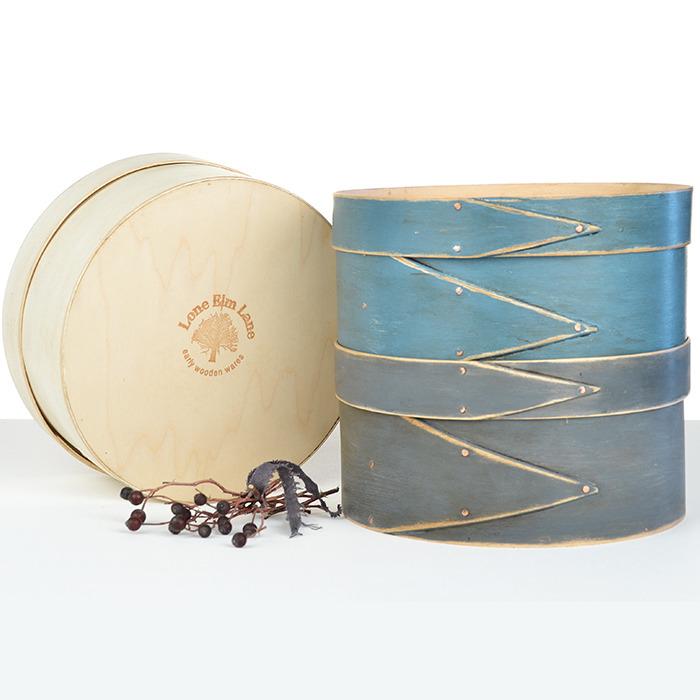 "8"" Round Union Blue Shaker Box cross stitch needlepoint Lone Elm Lane"