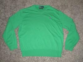 Polo Ralph Lauren V-Neck Sweater, Solid Green, Men's 2XL - $18.69
