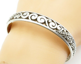 925 Sterling Silver - Vintage Baroque Swirl Detailed Bangle Bracelet - B... - $87.98