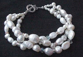 New Handmade Fw Pearls+Rhinestones 3 Strands Bracelet Wedding Bridal Gift - $23.27