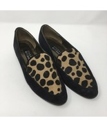 Stuart Weitzman Loafer Flats, Size 8, Black Suede with Animal Print Fur - $46.36