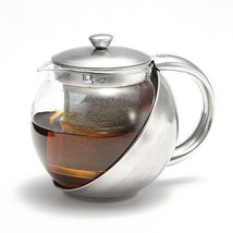 Glass Stainless Steel Loose Tea Leaf Teapot Wit... - $16.03