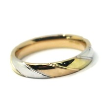 SOLID 18K YELLOW WHITE ROSE GOLD BAND RING, WOVEN, TWISTED, MADE IN ITALY image 1