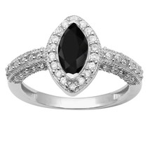 Black Onyx,White Topaz 925 Sterling Silver Ring Shine Jewelry Size-7.5 S... - £14.98 GBP