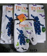 3 White Clown Trick or Treat Trick-or-treater bat Halloween towels & ove... - $12.99