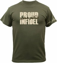 Proud Infidel Arabic Military Morale T-Shirt with Arabic on Sleeve - Oli... - $13.99+