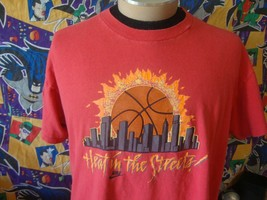Vintage 90's Nike Heat In the Streets Basketball Gray Tag T Shirt XL  - $148.49