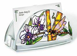 Dragonfly Bamboo Habitat Business Card Holder Acrylic New Amia Orchid Fl... - $16.82